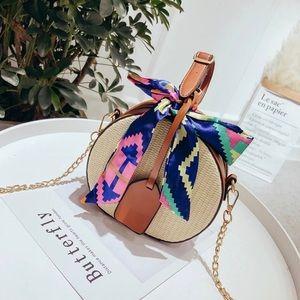 Handbags - 🎉HP🎉 NEW Straw vegan leather brown Crossbody Bag